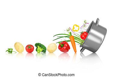 legumes, rolo, em, um, panela, ligado, um, isolado, fundo...