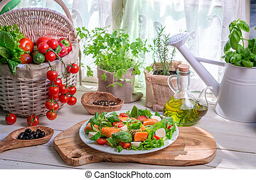 legumes, salmão, salada, ingredientes