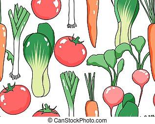 legumes, seamless, padrão, vário, fundo, branca