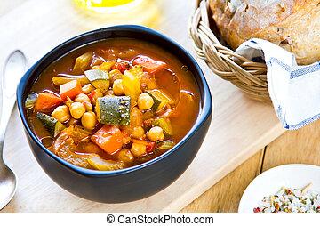 legumes, sopa, com, grão-de-bico