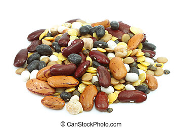 Legumes - Dried legumes and cereals on a white background