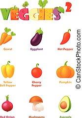 legumes, vetorial, jogo, ícone