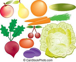 legumes, vetorial, jogo, frutas