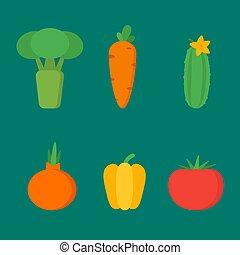 legumes, vetorial, jogo, objetos, clipart