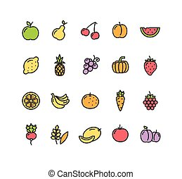 legumes, vetorial, set., ícone, frutas