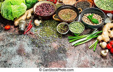 legumes., zdrowy, warzywa, jadło., owoce, asortyment