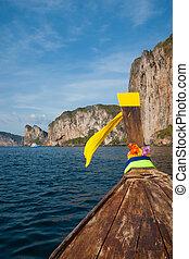 leh, île, traditionnel, bateaux, longtail, phi-phi