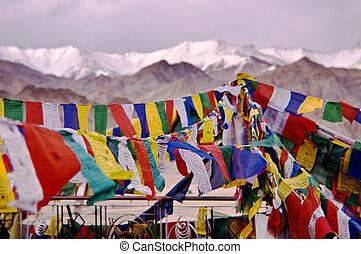 leh, banderas, oración, tibetano, india