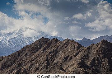 leh, berg, indien, schnee, bereich