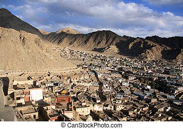leh, sur, inde, /, ladakh, colline, château, vue dessus