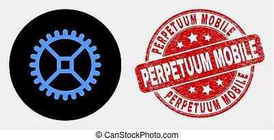 lehangol, óra, mozgatható, perpetuum, bélyeg, vektor,...
