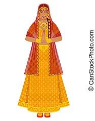 lehenga, ouro, noiva, indianas, vestido casamento