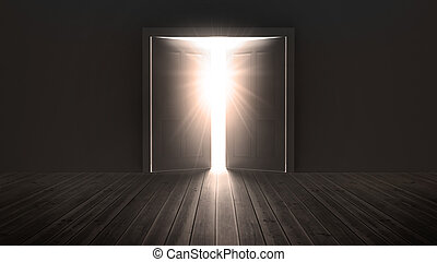 lehký, bystrý, otvor, dveře, show