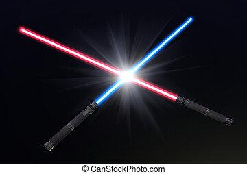 lehký, pokřiovat, sabers