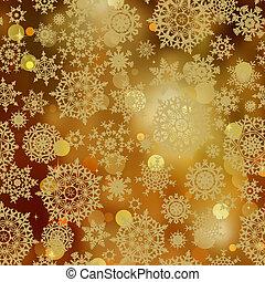 lehký, zlatý, sněhové vločky, a, třpytit se, sparkles., eps,...