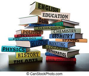 lehrbücher, stapel