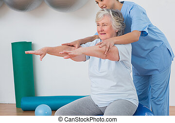 lehrer, assistieren, frau, älter, übung