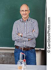 lehrer, in, chemie klasse