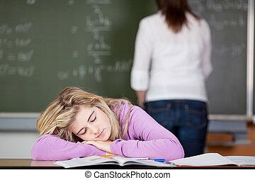 lehrer- schreibtisch, schueler, hintergrund, eingeschlafen