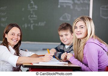 lehrer, und, studenten