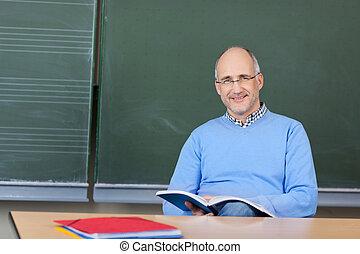 lehrer, vorbereiten, a, lektion