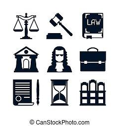 lei, ícones, jogo, em, apartamento, desenho, style.