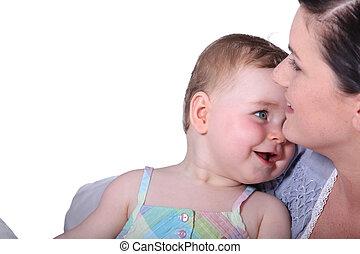 lei, braccia, bambino, mamma, ragazza, adorabile