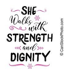 lei, camminare, con, forza, e, dignità