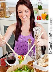 lei, casa, positivo, pasto, donna sana, mangiare