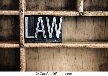 lei, conceito, metal, letterpress, palavra, em, gaveta