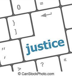 lei, concept:, justiça, botão, ligado, teclas teclado