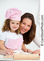 lei, cottura, figlia, madre