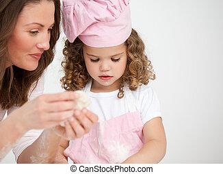 lei, figlia, madre, biscotti, contento, fabbricazione, insieme