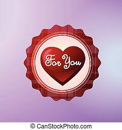 lei, icona, decorato, con, forma cuore, isolato, su, viola, fondo, giorno valentines, concetto