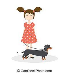 lei, illustrazione, dachshund, vettore, ragazza sorridente, felice