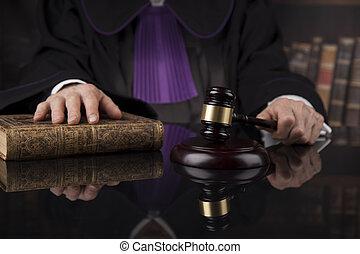 lei, justiça, concept., sala audiências, juiz, macho