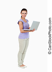 lei, laptop, femmina, giovane