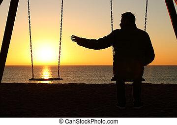 lei, mancante, tramonto, solo, socio, uomo