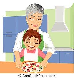 lei, nipote, insieme, nonna, preparare, delizioso, pizza,...