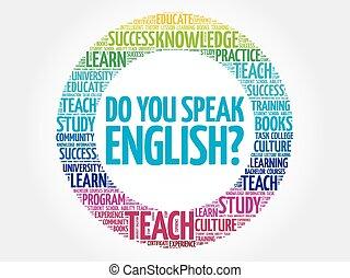 lei, parlare, parola, nuvola, english?