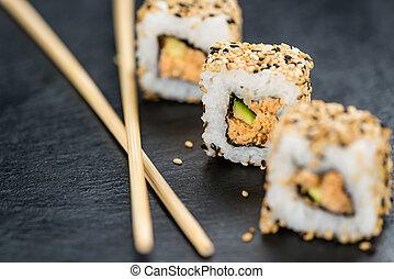 lei, plak, met, enig, sushi, (selective, focus)