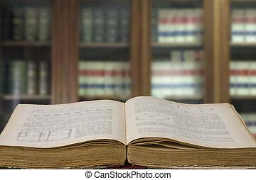 lei reserva, em, escritório, com, biblioteca