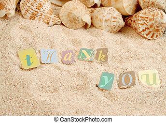 lei, ringraziare, sabbia
