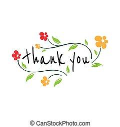 lei, scheda, ringraziare, calligrafia, bello, augurio, lettering., fiori, graffiato