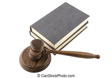 lei, tema, malho, de, juiz, gavel madeira, livros