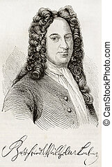 Leibniz - Gottfried Leibniz old engraved portrait and...