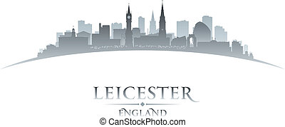 Leicester England city skyline silhouette white background...