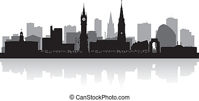 leicester, perfil de ciudad, silueta