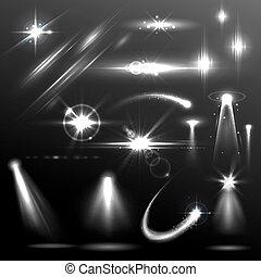leichter effekt, element, linse, realistisch, leuchtsignal