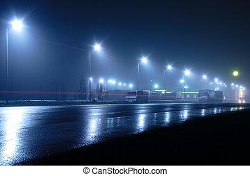 leichter nebel, spuren, straße, lichter